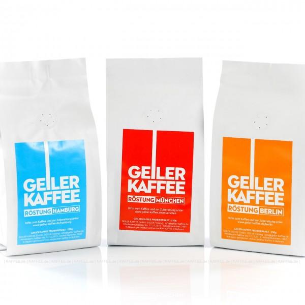 GEILER KAFFEE Probierpaket 3 x 250g Bohnen