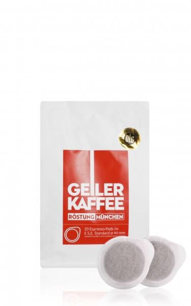 GEILER KAFFEE Röstung MÜNCHEN - 20 E.S.E. Kaffeepads - offen verpackt ohne Alufolie
