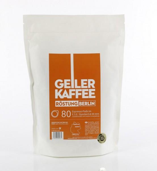 GEILER KAFFEE BERLIN Kaffeepads 80 Stück offen verpackt ohne Aluumverpaclung