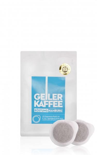GEILER KAFFEE Röstung HAMBURG - 20 E.S.E. Kaffeepads - offen verpackt ohne Alufolie