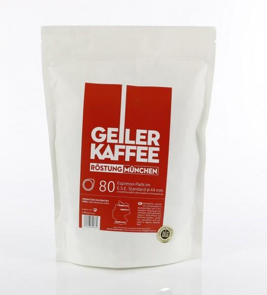 GEILER KAFFEE MÜNCHEN Kaffeepads 80 Stück offen verpackt ohne Aluumverpaclung