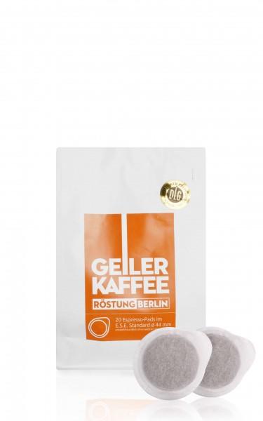 GEILER KAFFEE Röstung BERLIN - 20 E.S.E. Kaffeepads - offen verpackt ohne Alufolie